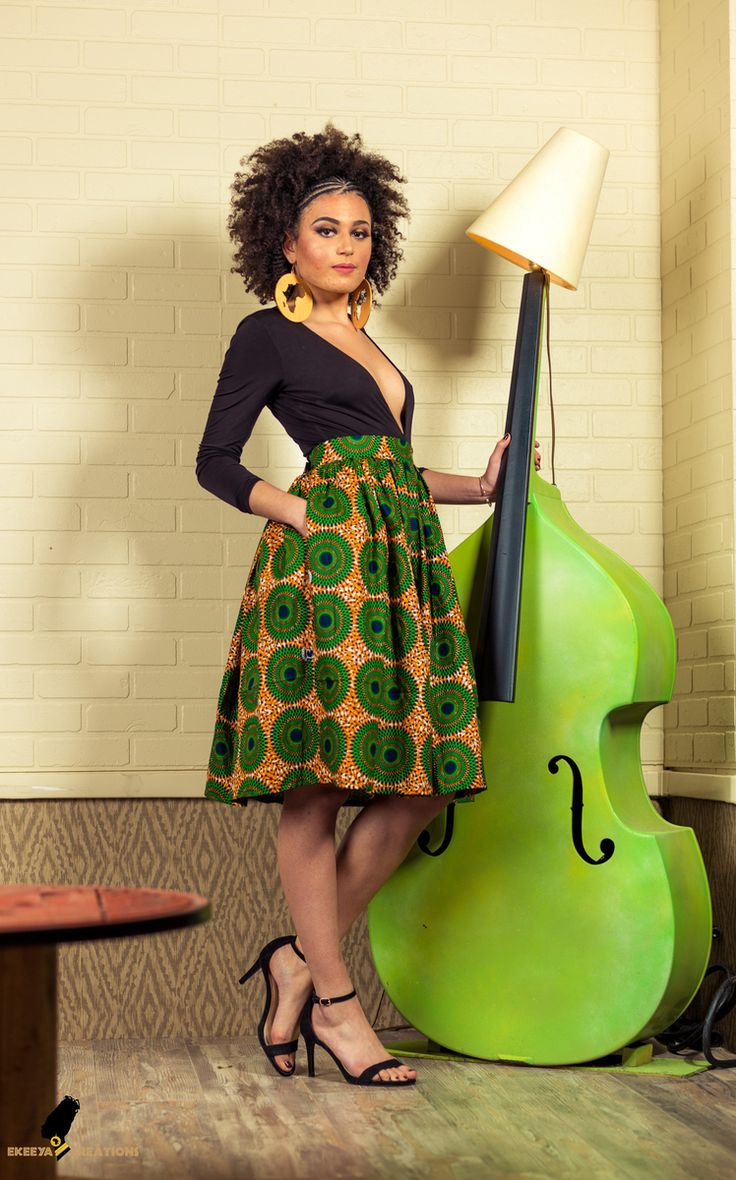 Ekeeya Creations: Jupe MI LONGUE DISQUES VERTS TISSU AFRICAIN Jupe mi longue taille haute  Wax hollandais veritable/SUO  100% coton