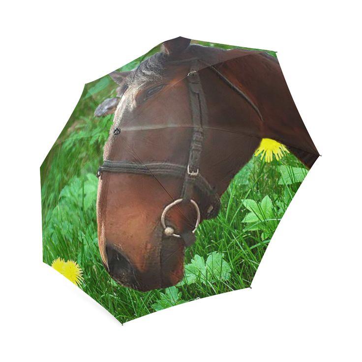 Horse and Grass Foldable Umbrella