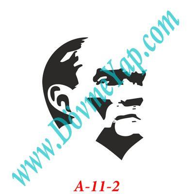 Kemal Atatürk Resmi Geçici Dövme Şablon Örneği Model No: A-11-2