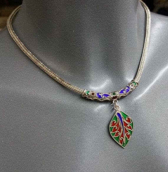 Silber 925 Emaille Schlangenkette Halskette SK500 von Schmuckbaron