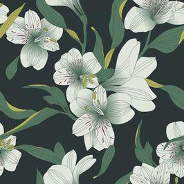 White Flowers on Green