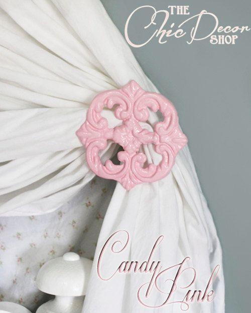 Curtain Tie Backs Pink Curtain Holdbacks Cast by ACreativeCottage