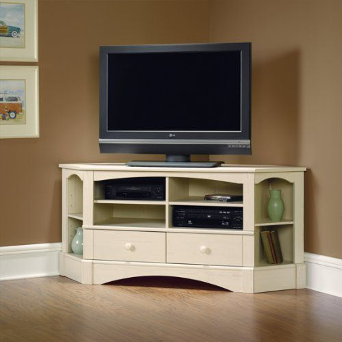 Corner entertainment center  i just like the idea of this especially for tricky rooms