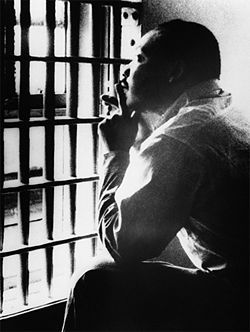 The Letter from Birmingham Jail, composed by Martin Luther King, Jr from his cell in the Birmingham City Jail and dated April 16, 1963, was a seminal document that established the moral foundations for the non-violent civil rights demonstrations of the Birmingham campaign.  http://abacus.bates.edu/admin/offices/dos/mlk/letter.html