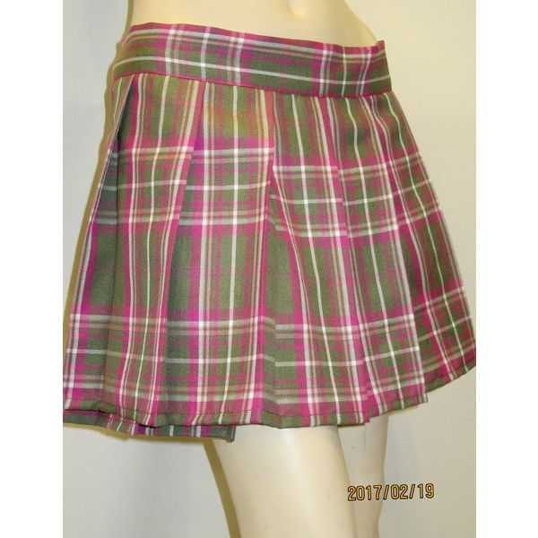Pink Green Plaid Pleated Mini Skirt~Cosplay Plaid Skirt~Highland Games... (£15) ❤ liked on Polyvore featuring skirts, mini skirts, green, women's clothing, plaid pleated mini skirt, long wrap skirt, short skirts, pink pleated skirt and plaid mini skirt