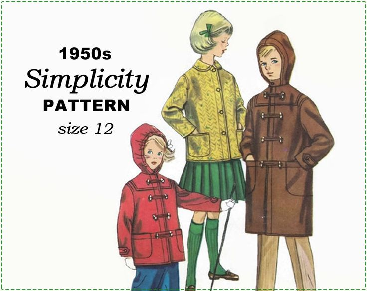 Simplicity s39 s.39 Sewing Pattern - 1950s Children's Coat Sewing Pattern - Boy's Girl's Child's Duffle Coat with Hood - Size 12 Chest 30 by EightMileVintageSews on Etsy