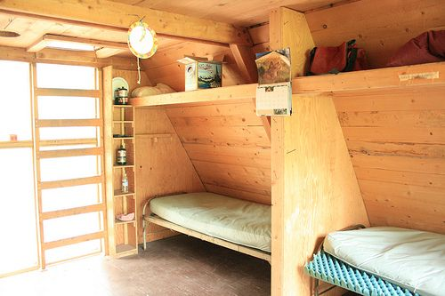 This might be an option for Timmy's A-Frame loft bedroom.  I would only need one bed, and the shelf above would give him display room, while the wall containing the bed would give him a straight wall.