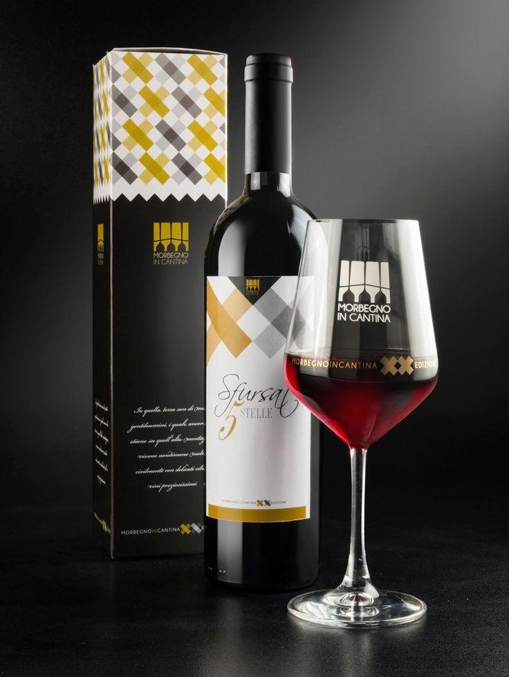 wine label, box and glass