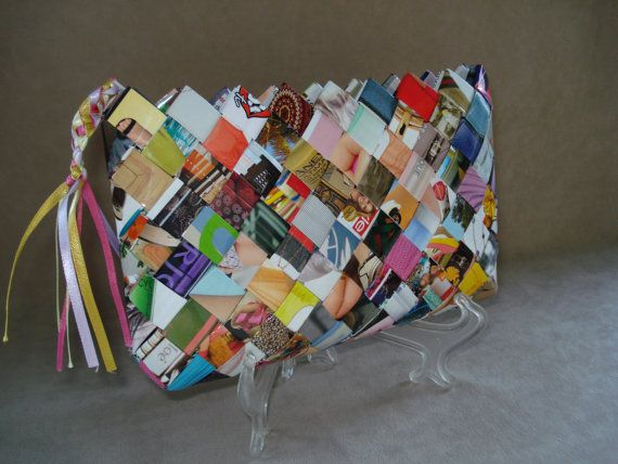 Wallet / Small purse made of hand woven recycled fashion magazine paper with no black on white writing