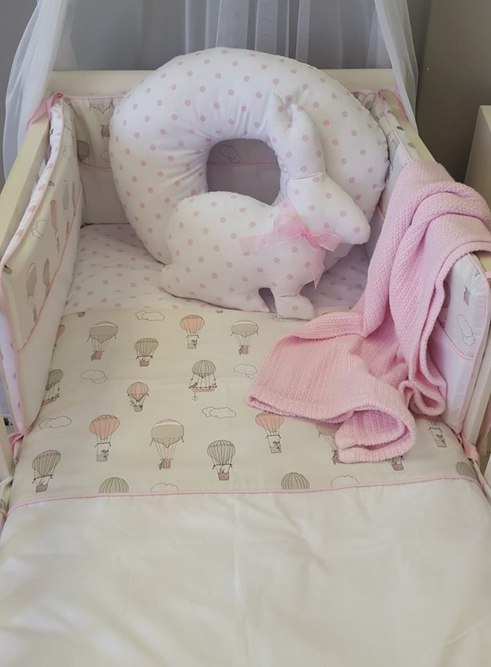 Our #UpandAway theme is so cute with the addition of #simple #Pink spots; perfect for any #BabyGirl!   #BabyBedding #BabyLinen