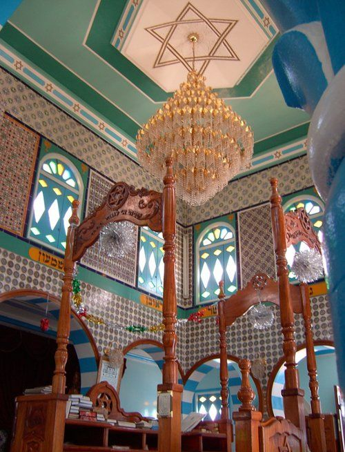 Zarzis Synagogue, Tunisia.  The synagogue has a distinctive Andalusian architectural style.   Love the color combo!