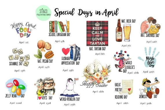 Special Days in April Wacky Holiday Stickers for April by StiandCo