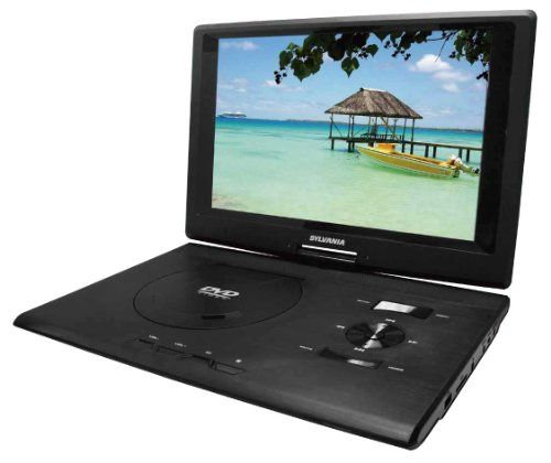 Sylvania 13.3-Inch Swivel Screen Portable DVD Player With USB/SD Card Reader. Pick your media capability and the size of your screen! These Sylvania Portable Players have swivel screens and come in 7-Inch, 9-Inch and 13.3-Inch sizes. You can watch movies, listen to music and view pictures from various types of media sources. With built-in rechargeable batteries, these lightweight and easily transported players can turn a rainy camp afternoon into a ton of fun!