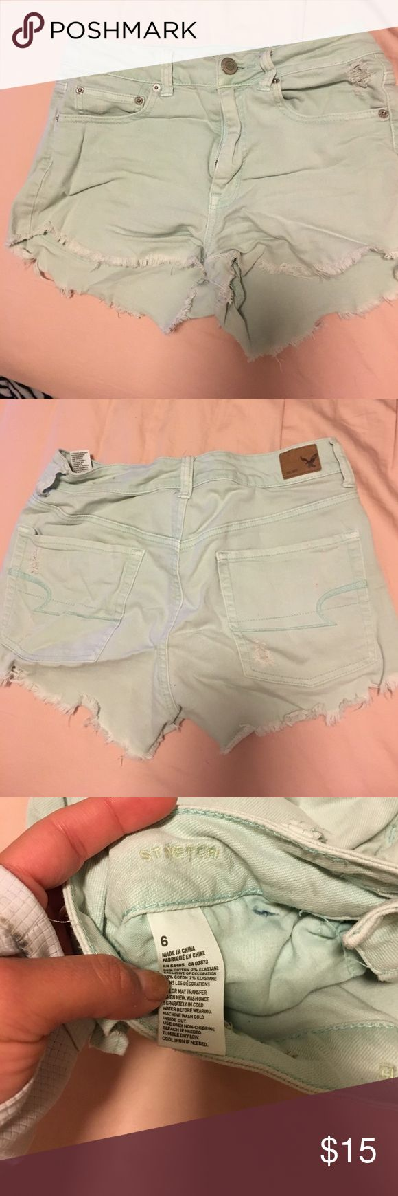 high waisted shorts light blue high waisted jean shorts baby blue color American Eagle Outfitters Shorts Jean Shorts