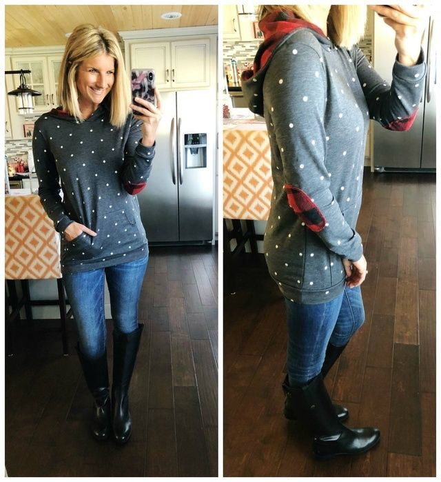 Wear // Polka Dot Hoodie with Elbow Patches + Jeggings + Riding Boots