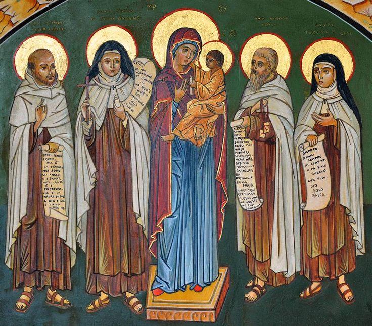 4 Famous Carmelite Saints with Our Lady of Mt. Carmel: St. John of the Cross, St. Thérèse of the Child Jesus, St. Simon Stock, and St. Teresa of Ávila