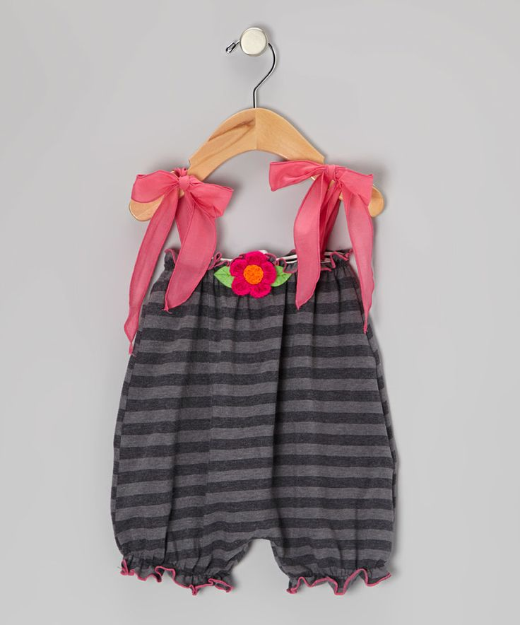 Another great find on #zulily! Charcoal Stripe Rosette Bubble Romper - Infant & Toddler by Victoria Kids #zulilyfinds