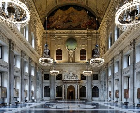 Citizens' Hall, Royal Palace, Amsterdam, the Netherlands. The Royal Palace in Amsterdam is one of three palaces used by the Royal House. Most of the year, the Palace is open to the public. Visitors are welcome to discover the buildings rich interior.