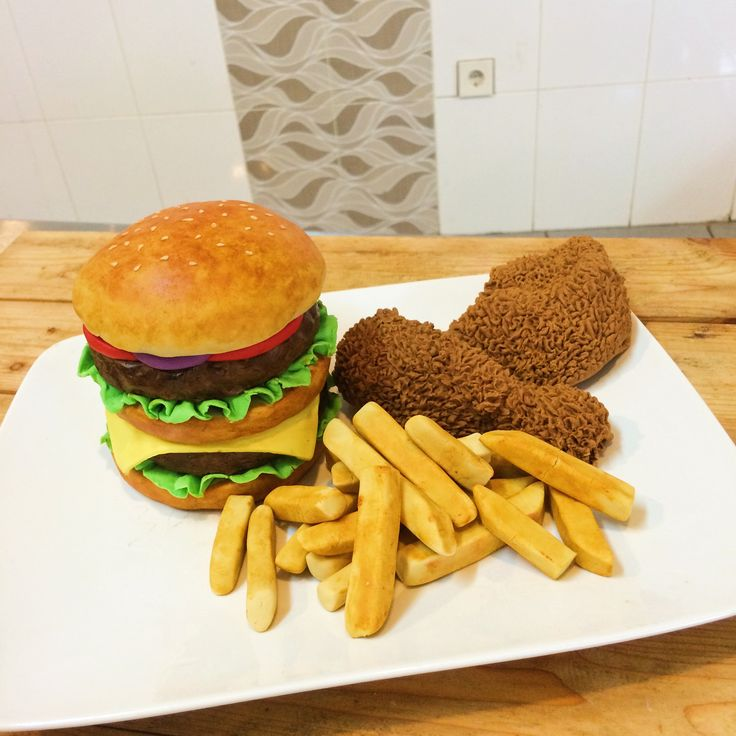 Cake decoration fondant mcdonalds burger, french fries, fried chicken