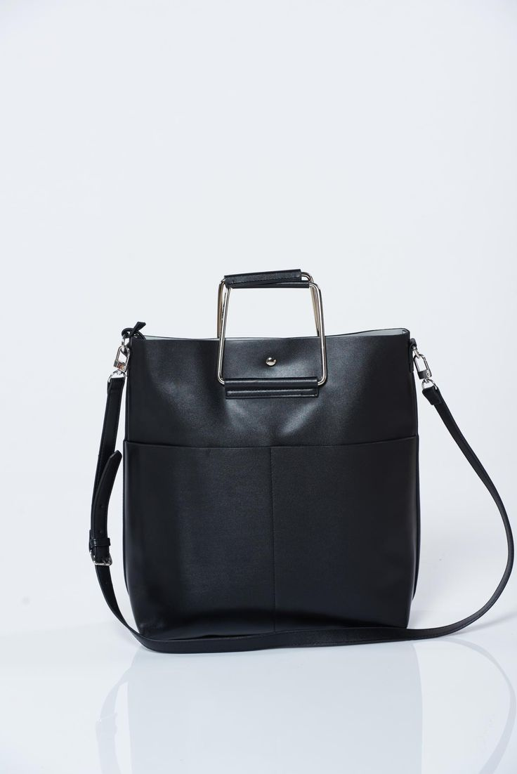 Top Secret black bag with long adjustable handle, women`s bag, metalic accessory, long, adjustable handle, upper material: ecological leather