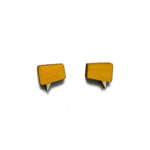 Talk bubble earrings by ALZBETA DESIGN Earrings are made of 2mm plywood.