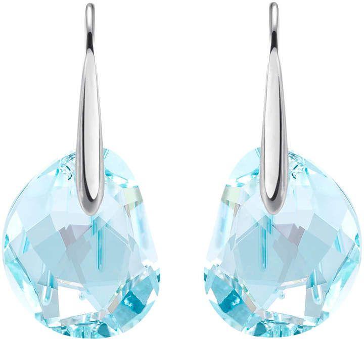 Swarovski Galet Pierced Earrings Blue Rhodium Plating Earings Piercings Swarovski Crystal Earrings Swarovski Earrings