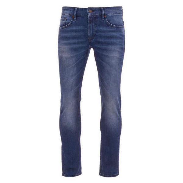 BOSS Orange Men's Orange 72 Skinny Fit Jeans - Stone Wash ($110) ❤ liked on Polyvore featuring men's fashion, men's clothing, men's jeans, men, blue, mens leather skinny jeans, mens patched jeans, mens blue skinny jeans, mens blue jeans and mens stonewash jeans