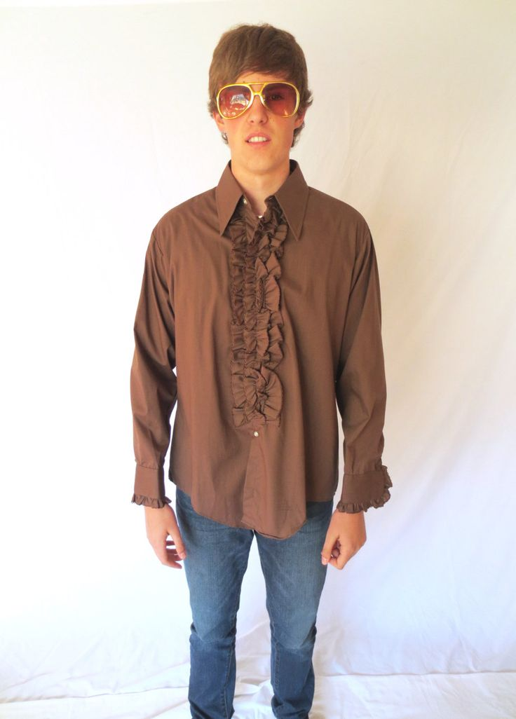 1970s Brown Tuxedo Ruffle Shirt 70s DELTON Mens SIZE L - 4 Pimp Daddy Vegas Wise Guy Prom Shirt Jackpot Jen Vintage by JackpotJen on Etsy