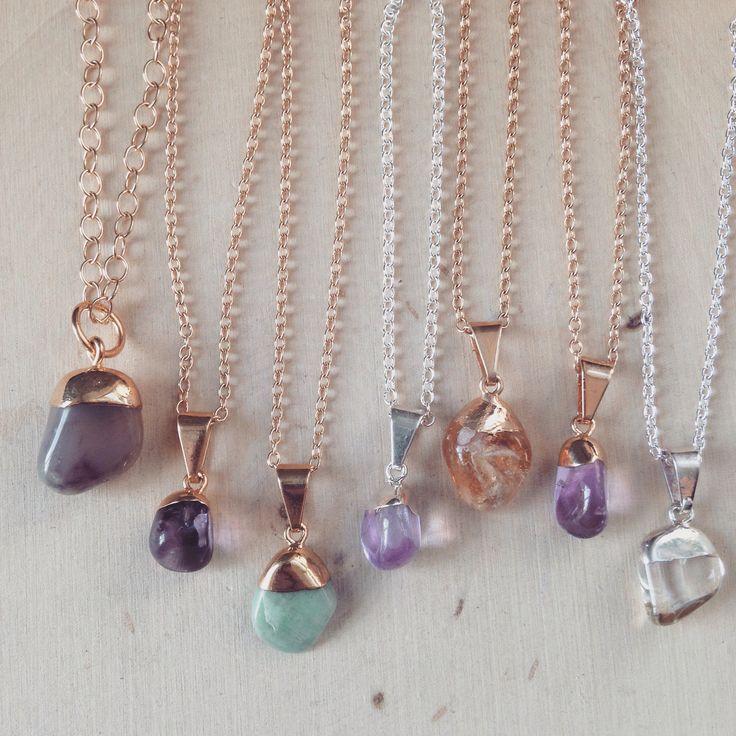 Tumbled Gemstone Necklaces: Tumbled Stone Necklaces - Tumbled Gemstones - Tumbled Citrine, Tumbled Amethyst, Tumbled Amazonite, Quartz, Gems by MalieCreations on Etsy