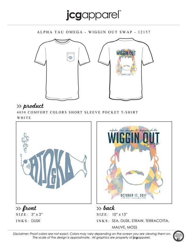 JCG Apparel : Custom Printed Apparel : Alpha Tau Omega Wiggin Out Swap T-Shirt #alphatauomega #ato #wiggin #out #mullet #wig #swap #mixer #social