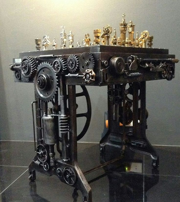 Steampunk chess and game table