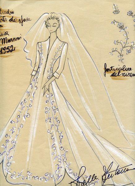 £: 1952 – Bozzetto per l'abito da sposa Donna Gioia Marconi Braga