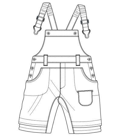 boys overalls fashion flat sketch