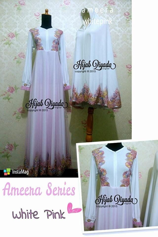 Code : Ameera White Pink  Size : S M L XL size standart or you can request by your body size  Price : 495.000/set (size standart) dengan bergo standar size XL XXL + 50.000 XXXL +65.000 nambah size bergo tambah +15.000