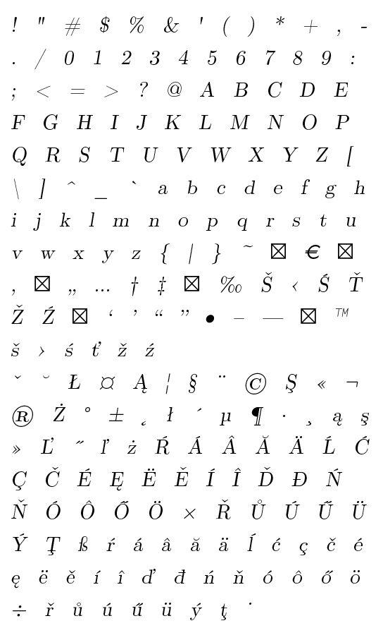 Mapa fontu CMU Serif Extra