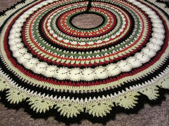 Mandala Crochet Christmas Tree Skirt Etsy Christmas Tree Skirt Crochet Pattern Christmas Tree Skirts Patterns Crochet Tree