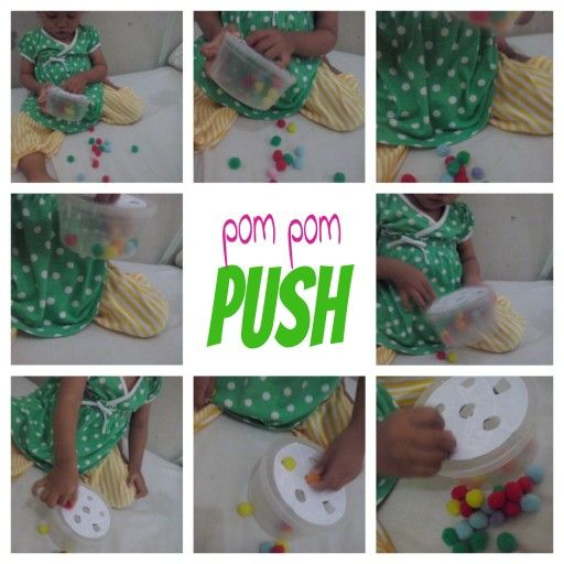 We made this from cereal bowl with lids...make some holes, and we play it with pom pom..#1 year old #diy #pom pom #reuse #busy bag