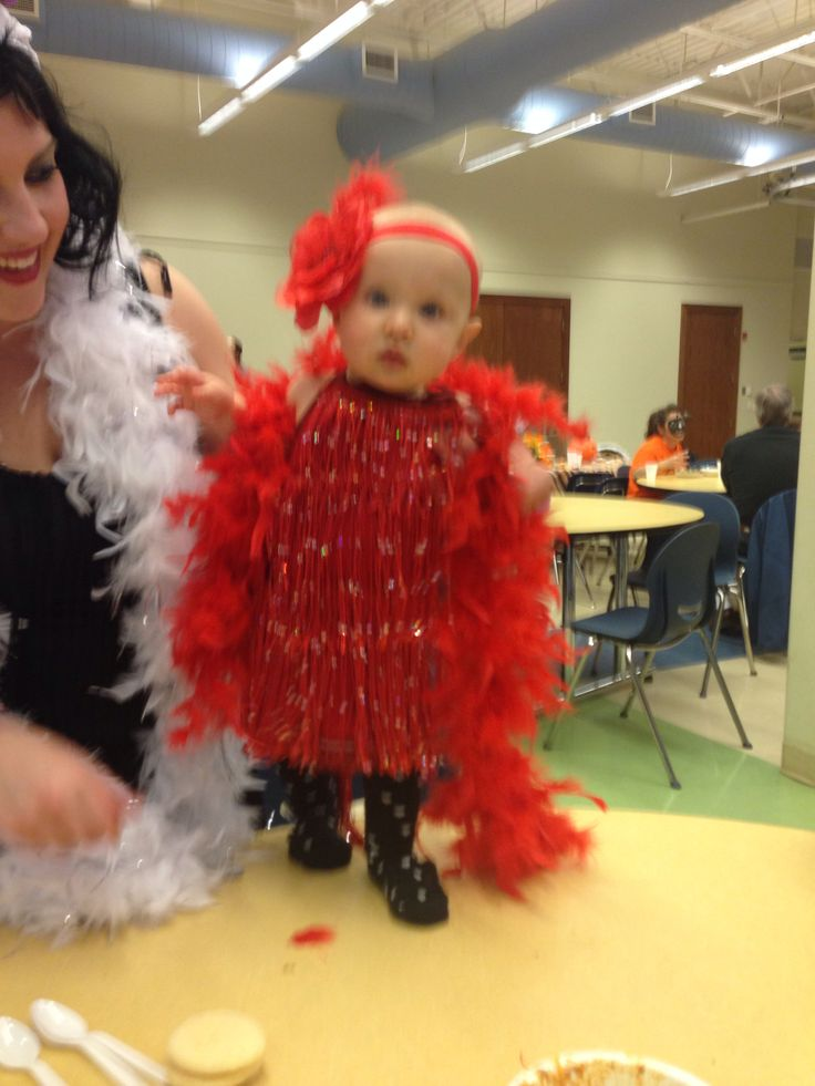 Homemade baby flapper costume that I made at Halloween for my 7 month old :) I just dyed an extra small girls' white tank top with Rit dye and sewed the fringe on it, hot glued some feathers and a big flower to her red headband and that was it! I had to clip the straps in the back to keep the dress up, so I did it with a red flower clip to go with the outfit better. It was a big hit everywhere she wore it!