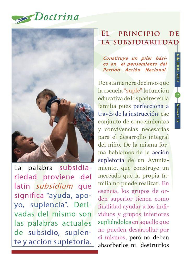 """Cápsula doctrinal humanista número 32 editada por el CDE del PAN Morelos con el tema """"El principio de la subsidiariedad""""."""