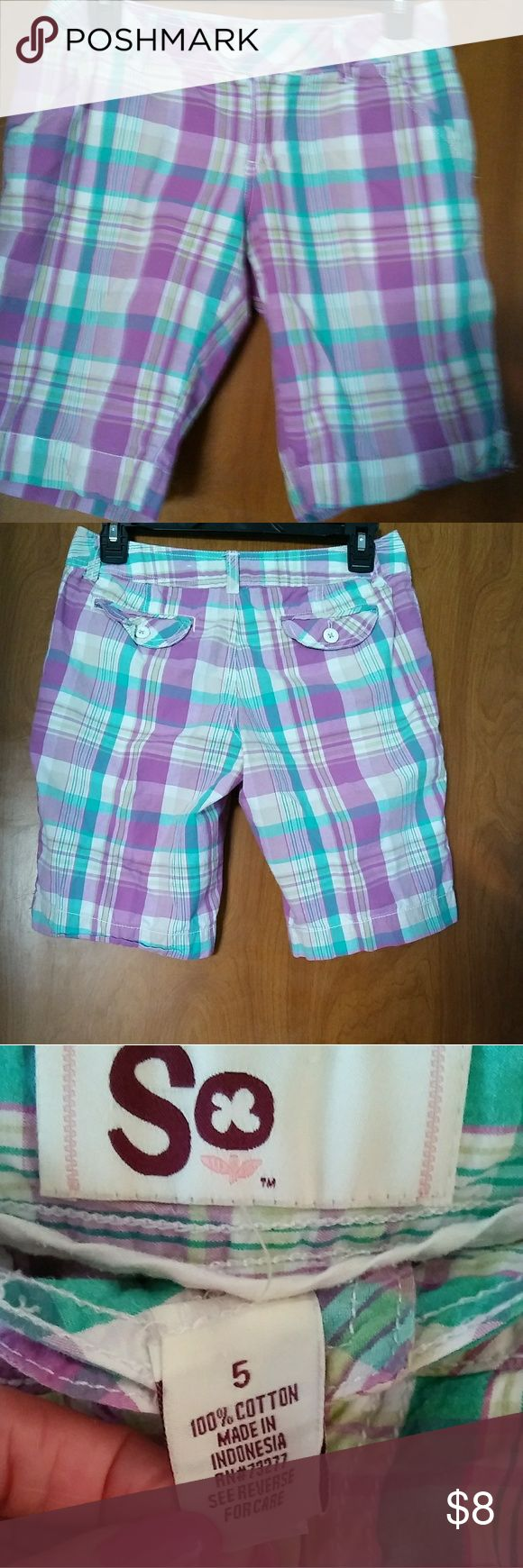 SO SHORTS Multi color shorts size 5, purple, white, green & yellow. Gently worn good condition.  Feel free to make offer or bundle & save. If you have any questions please let me know. SO Shorts