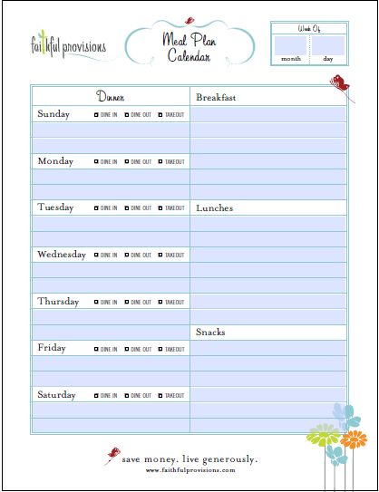 Meal-Planning-Template  Starting next week to see if I can use this and if it really does save money.