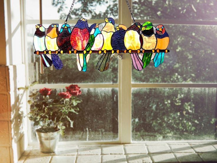 Victorian Stained Glass Panels | Home Glass Window Panels Birds Stained Glass Window Panel