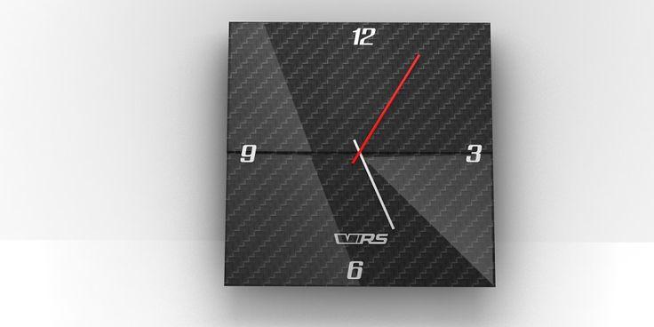 Wall clock made of carbon. Shape is based on one of the specific Škoda design element | Nástěnné hodiny z karbonu. Tvar je postaven na jednom ze specifických designových prvků vozů Škoda