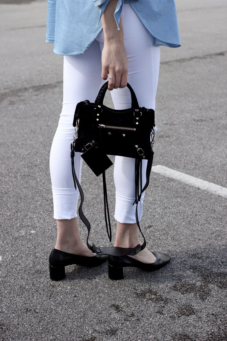 Sock Shoes from Next, Balenciaga suede mini city bag in black and white denim jeans street style Spring outfit