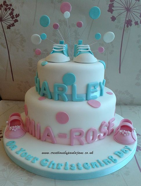 Twins Christening Cake by Creations By Paula Jane, via Flickr