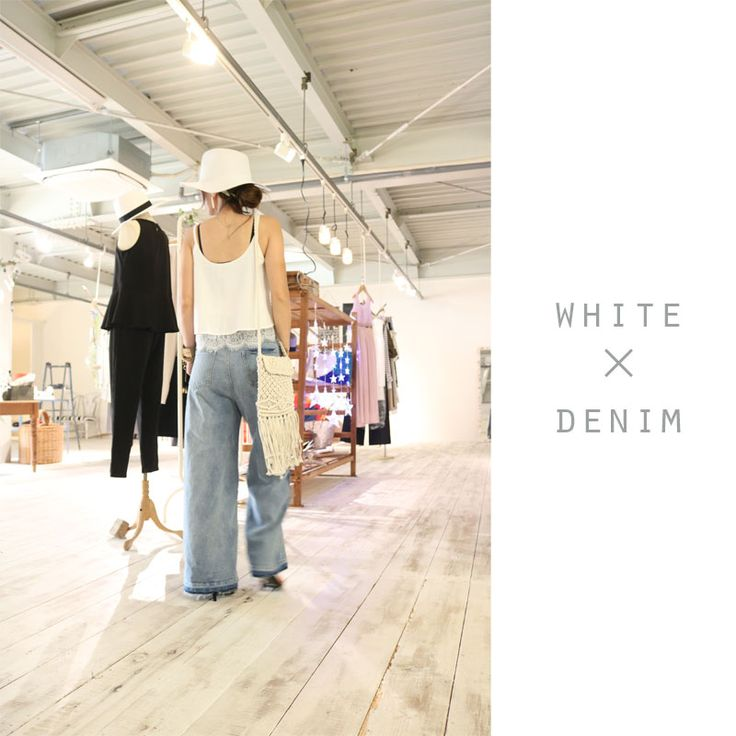 画像3: bicolor hiwaist wide denim
