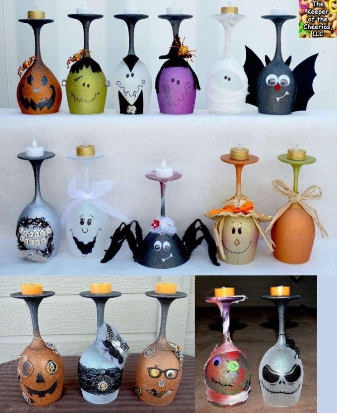 Halloween Wine Glass Candle Holders...these are the BEST Homemade Halloween Decorations & Craft Ideas!