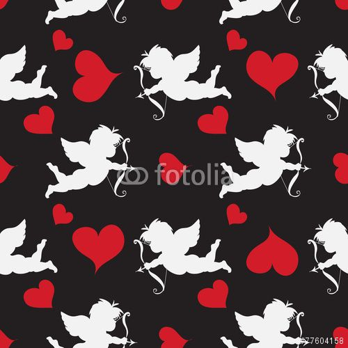 50 Cupid  Seamleess    Pattern with red hearts