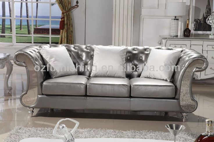 Luxary Silver Living Room Furniture Silver Black Thick Grain Leather