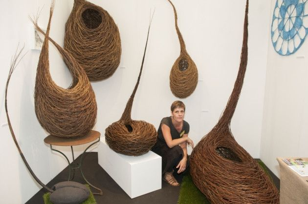 Grow London Contemporary Garden Fair on Hampstead Heath. Crouch End willow sculptor Julia Clarke. Picture: Nigel Sutton
